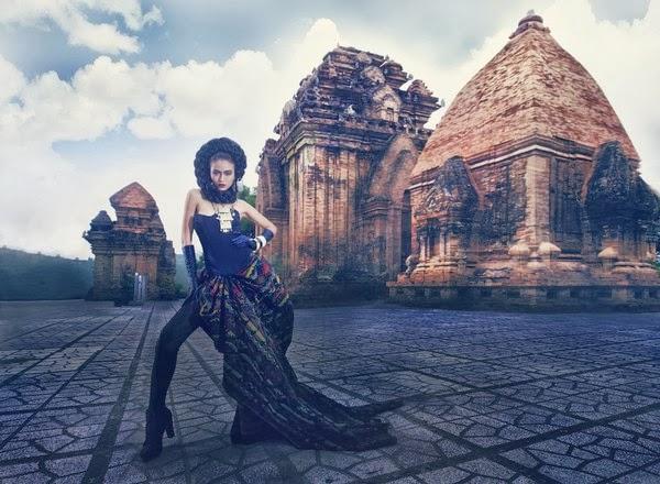 Bộ ảnh Vietnam next top model 2013 tạo dáng bên tháp Chàm Ponagar