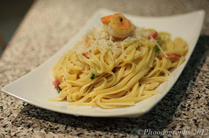 Spaghetti/Linguine with Shrimp and Bacon – Phoodographs