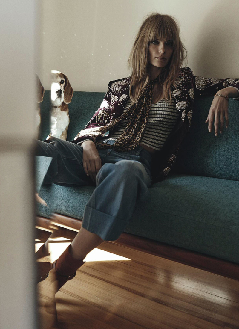 Julia Stegner with daughter Emma and dog Kaspter photographed by Benny Horne and styled by Christine Centenera for the March 2015 issue of Vogue Australia via fashioned by love