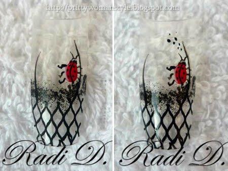 декорация на маникюр с мрежичка и калинка