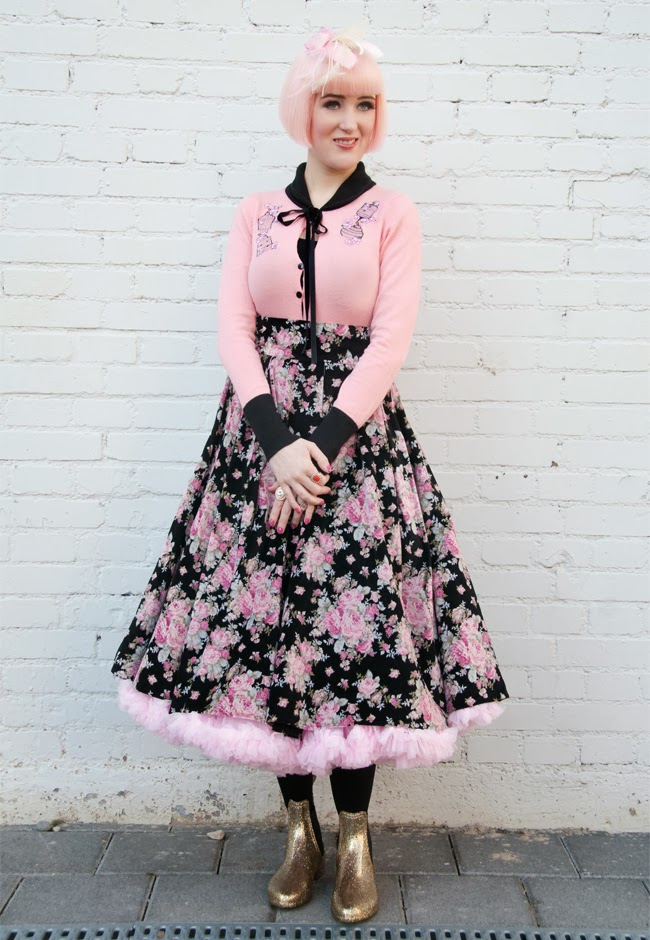 Collectif Clothing, Velvet Skirt, 50s Style, Pastel PInk Outfit