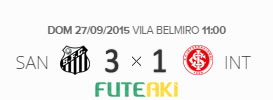 O placar de Santos 3x1 Internacional pela 28ª rodada do Brasileirão 2015