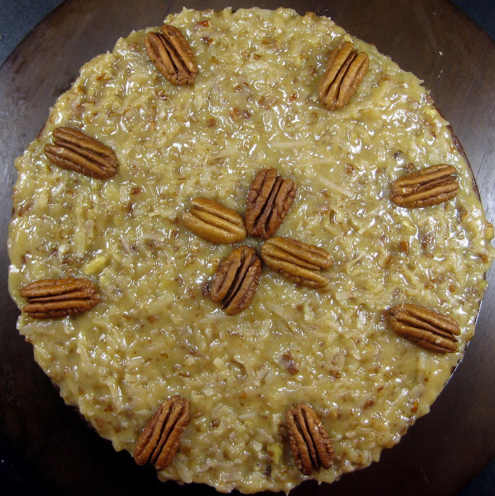 Decorated German Chocolate Cake Karis Kitchen A Vegetarian Food Blog 2 Layer German Chocolate Cake