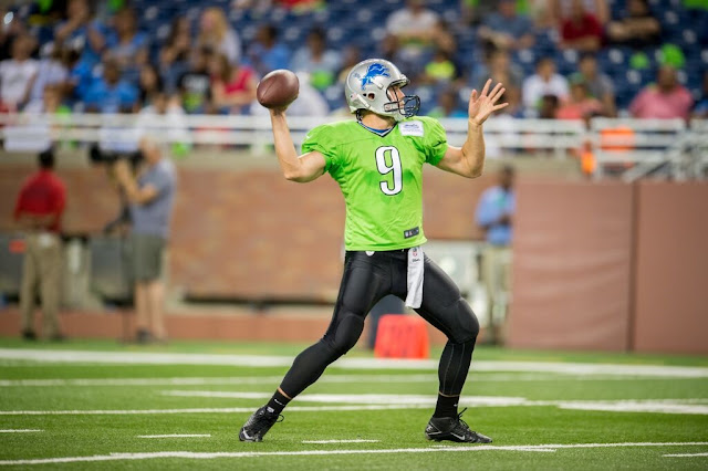 Matthew Stafford Lions QB Wearing Green Jersey