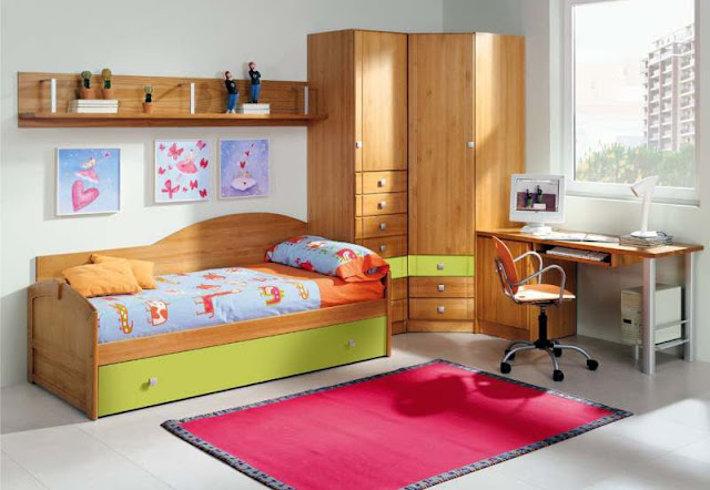 Dormitorio juvenil con escritorio integrado dormitorio infantil - Dormitorios juveniles madera ...