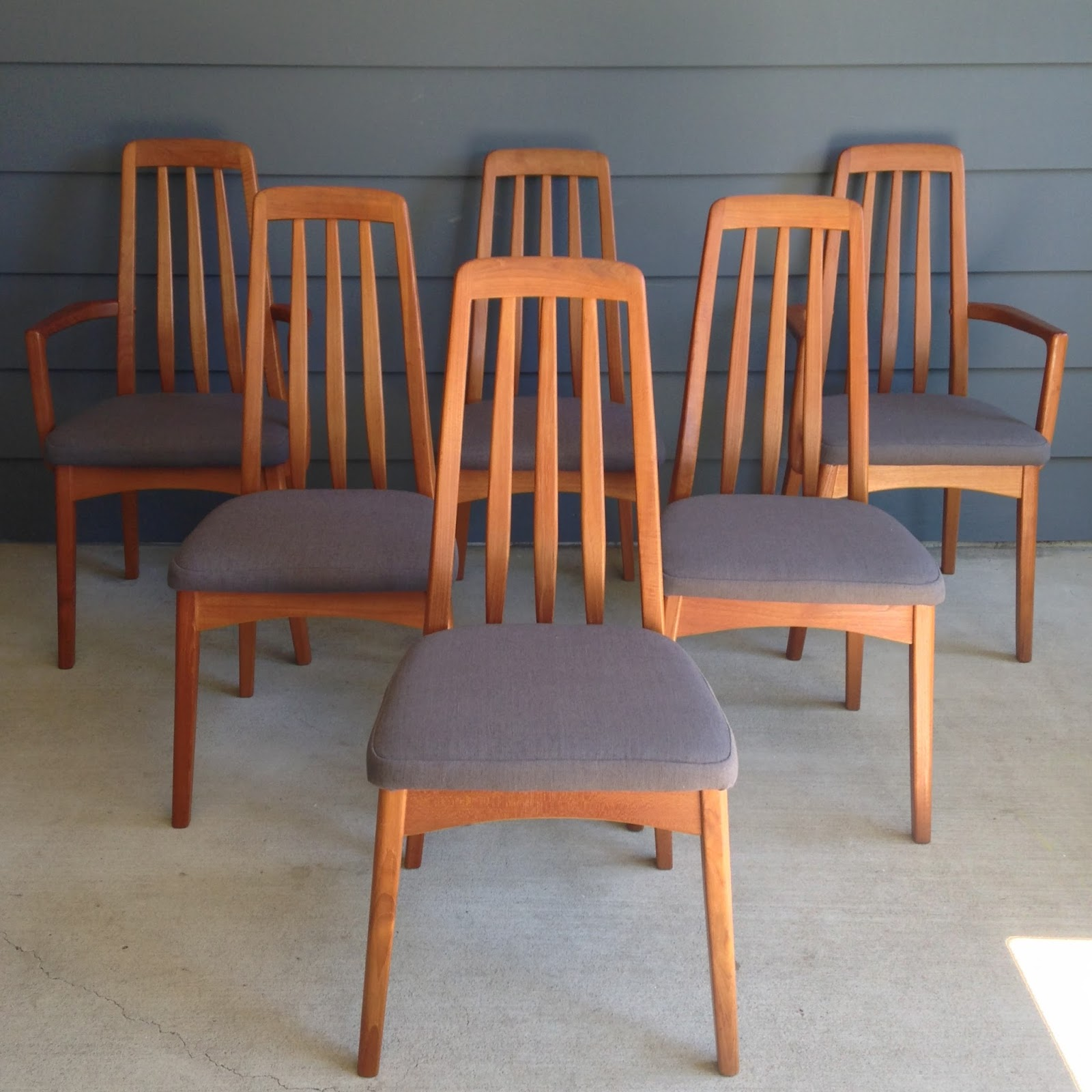 Two Projects That We Have Finished This Week Are Reupholstering A Set Of 4  Teak Benny Linden Dining Chairs And A Walnut Draw Leaf Dining Table //Sold