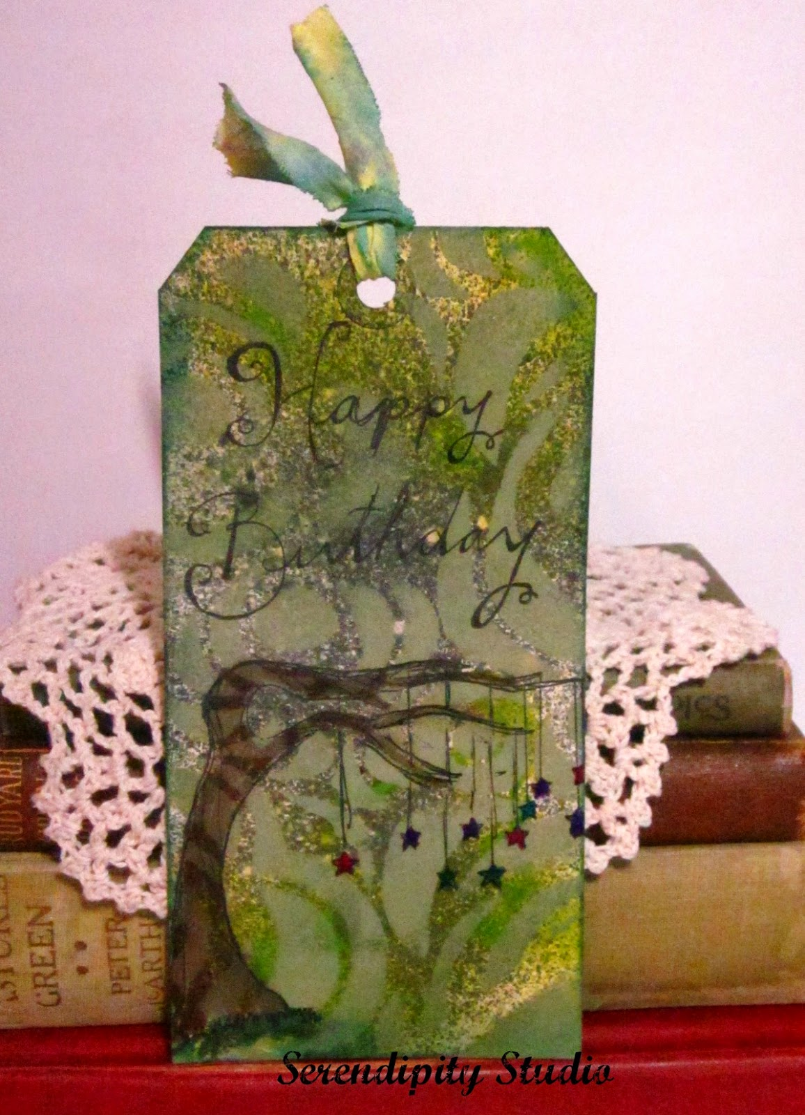RubberMoon Shimmery tag, Happy Birthday stamp, Wishing Tree, created by www.serendipitystudiobycw.blogspot.com