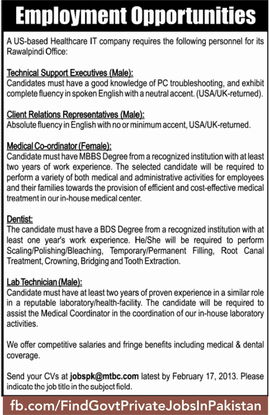 employment opportunity in jang sunday ads