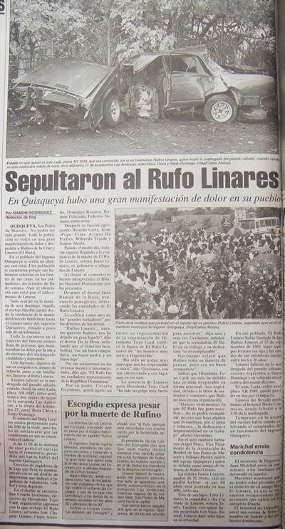 PELOTEROS DOMINICANOS QUE HAN FALLECIDO EN ACCIDENTES DE TRANSITO.