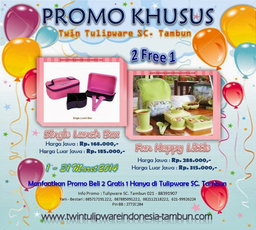 Promo Khusus Twin Tulipware SC. Tambun Bulan Maret 2014, Single Lunch Box, New Happy Little