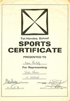 Tal Handaq - Sports Certificate 1975