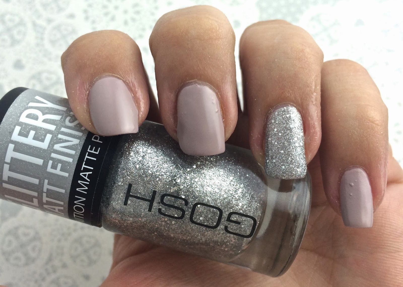 Easy Party Season Nail Art Look 1 Matte Glitter Accents
