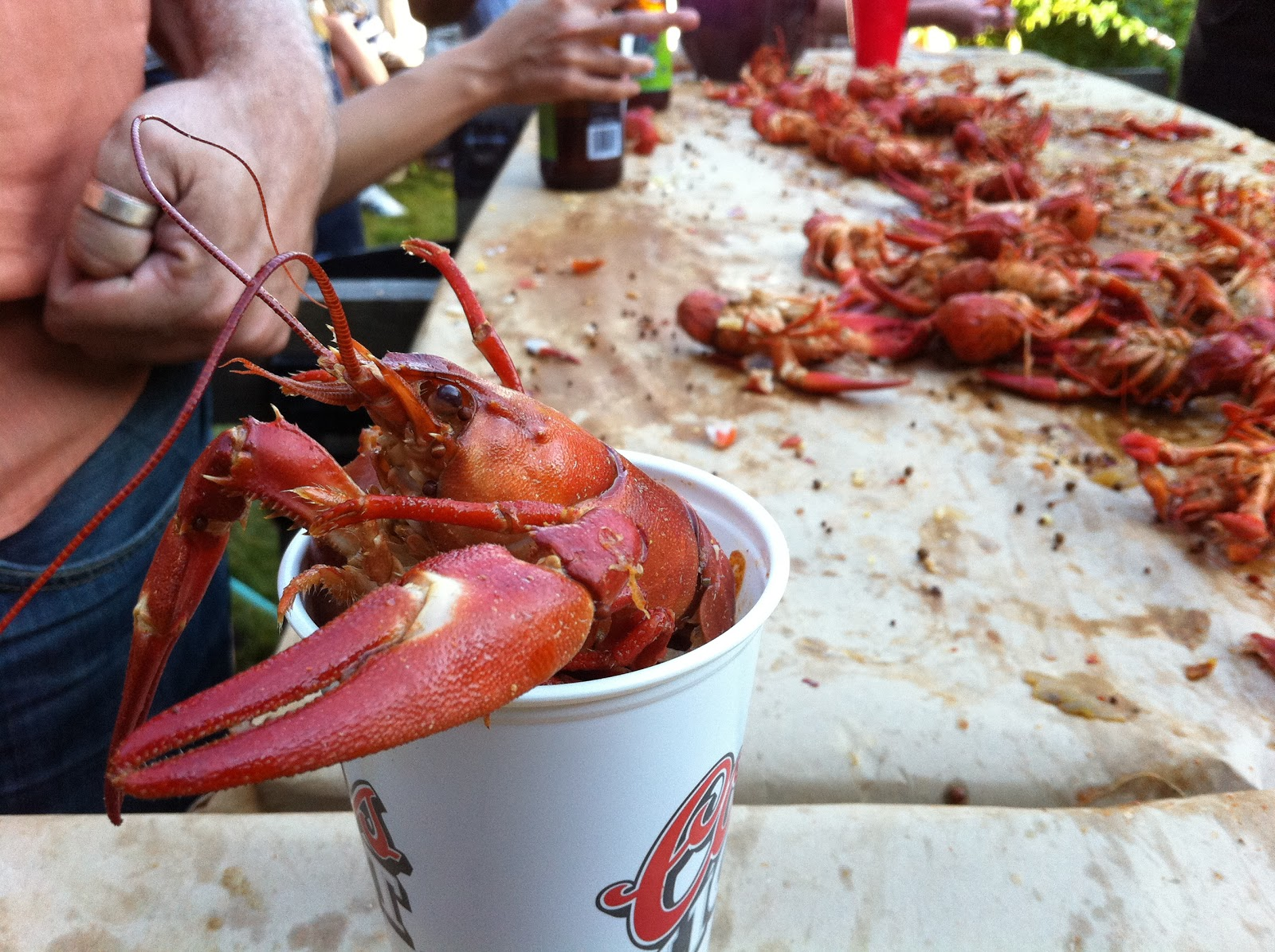 We ate crawfish and relaxed in