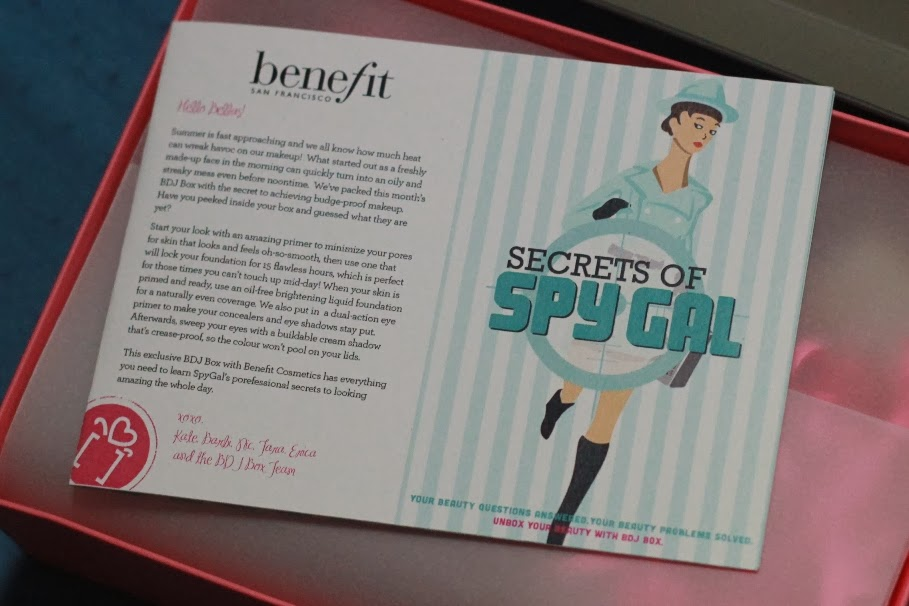 Welcome Card for BDJ Box for March 2014 - Benefit's Secrets of Spy Gal