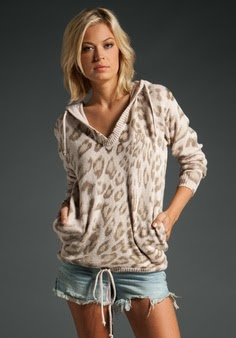 Rebecca Taylor Leopard Hoodie in Tea Pink