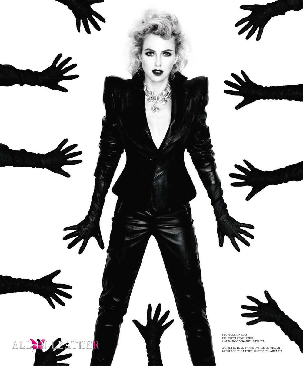 Leather jacket photoshoot - Naomi Watts Leather Jacket Bebe Leather Pants Nicole Miller Opera Gloves