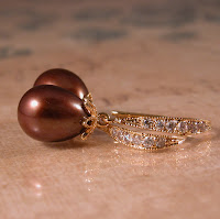 chocolate pearl, cubic zirconia and gold vermeil earrings