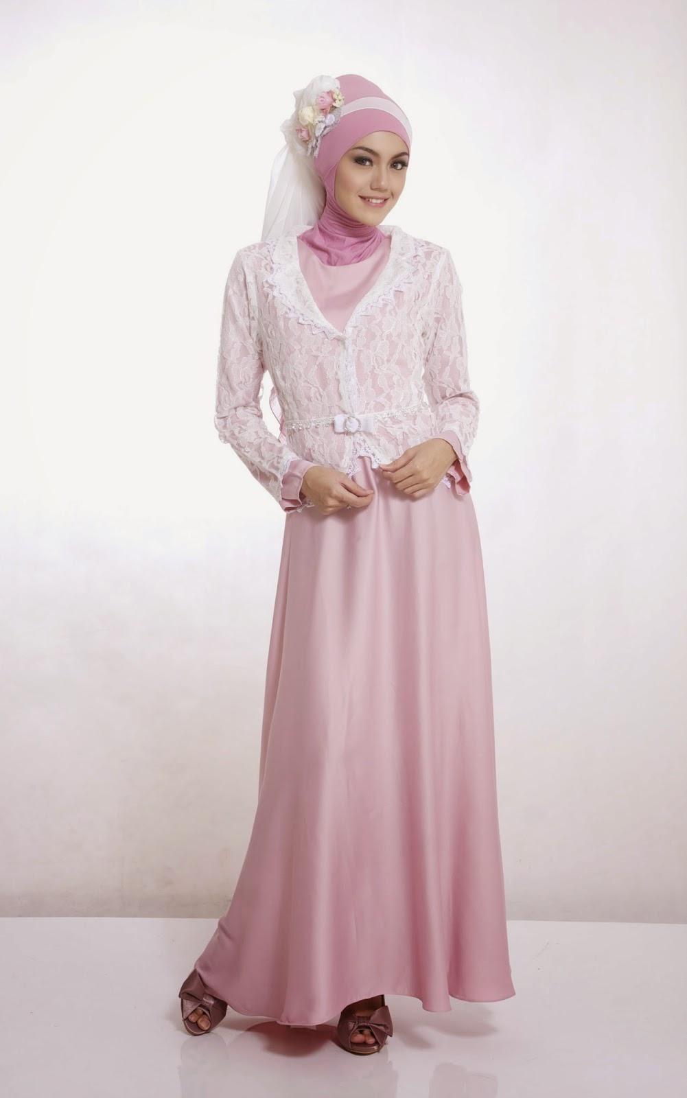 Contoh Baju Pesta Muslim Warna Pink