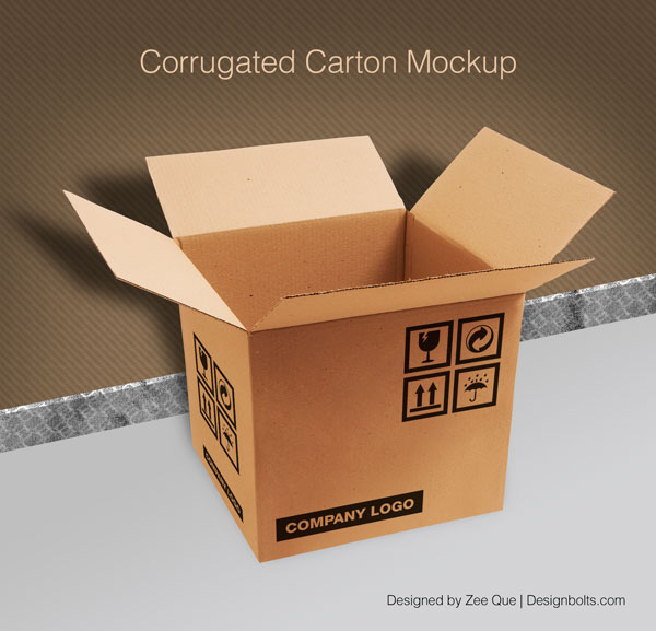Download Packaging Mockup PSD Terbaru Gratis - Corrugated Carton / Box Packaging Mock-up PSD