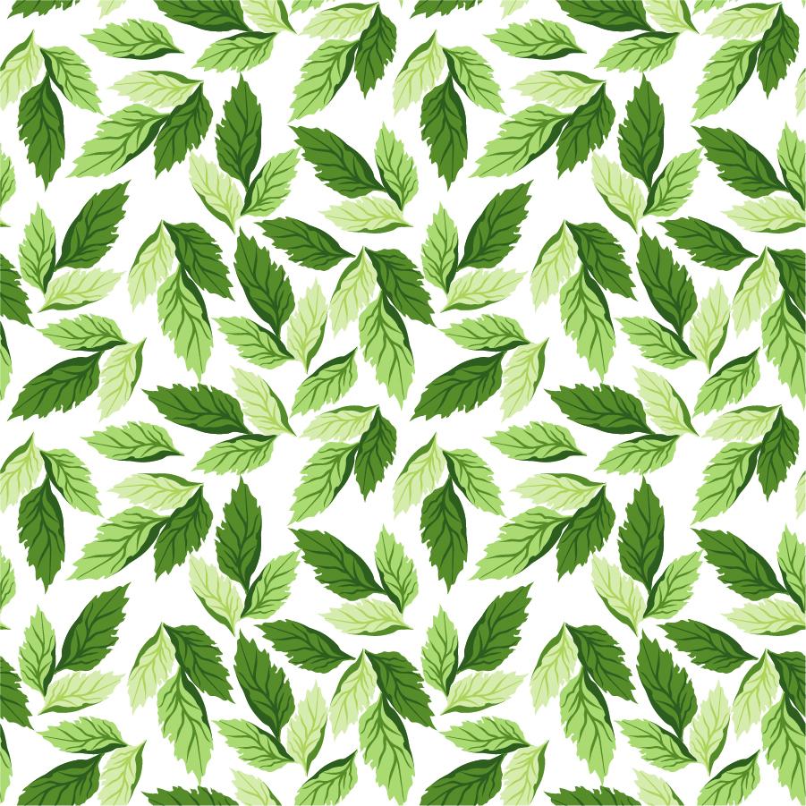 シームレスな緑の葉のパターン背景 Seamless Leaf Pattern Vector Background イラスト素材