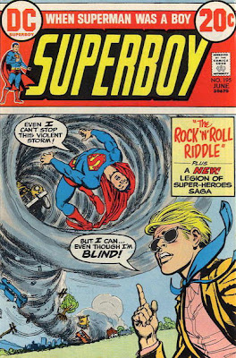 Superboy being sucked into a whirlwind/hurricane as a blind boy in dark glasses boasts he can stop it, even though Superboy can not, Nick Cardy cover