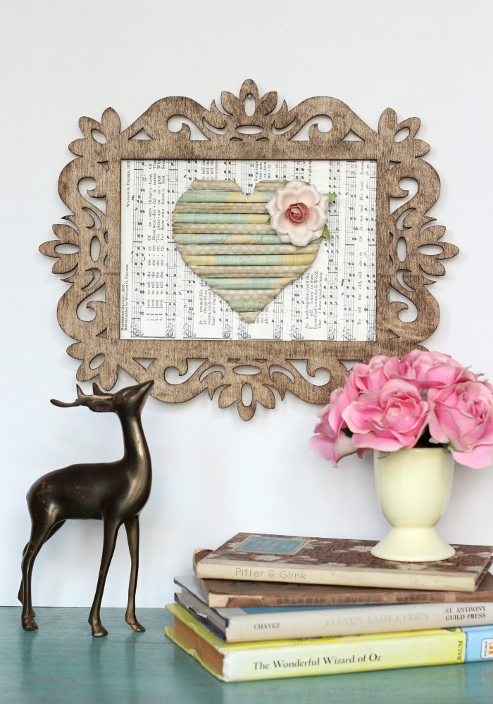 Use your paper scraps to create this vintage-looking Rolled Scrap Paper Heart Art. pitterandglink.com
