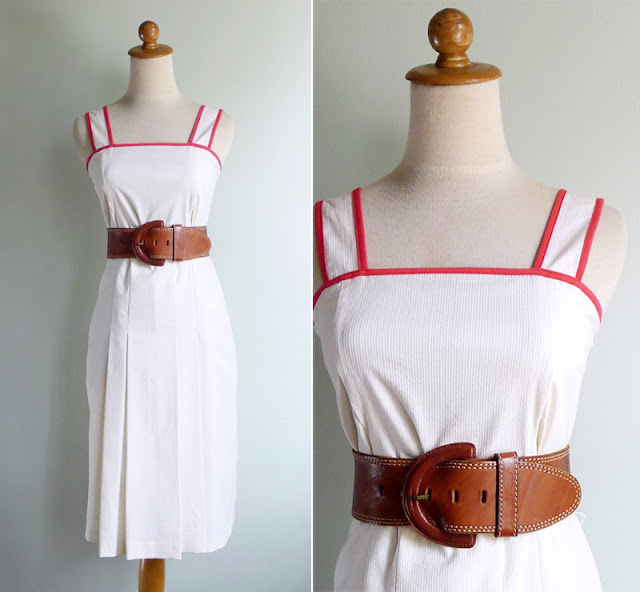 vintage seersucker white pinafore dress