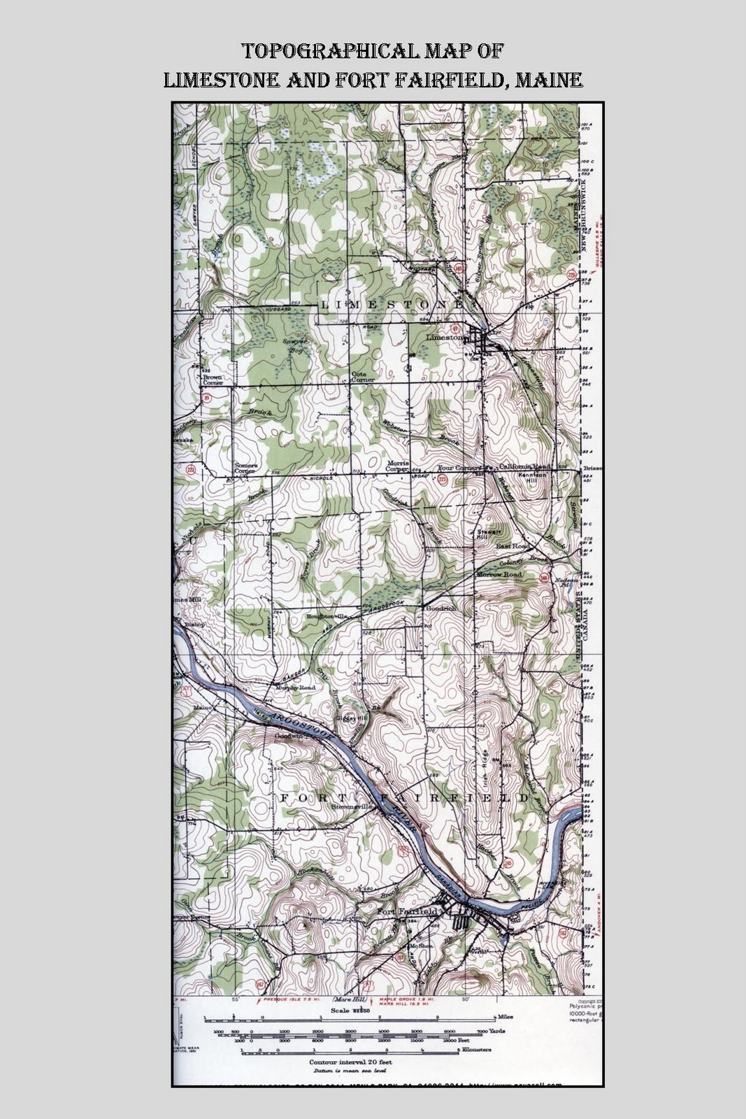 Limestone Maine My Home Town Topographical Map Of Limestone And