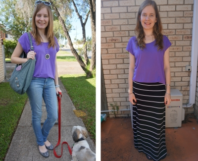 AwayFromTheBlue blog | one purple tee worn two ways 2 outfits