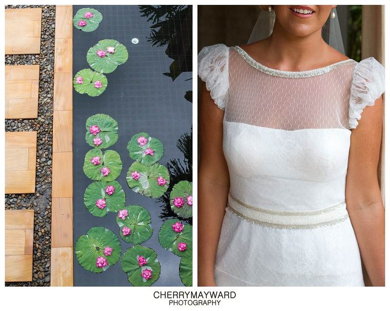 Bride's Luci DiBella wedding dress and Lotus flowers floating in the pond at walkway, Thailand destination wedding, Koh Samui