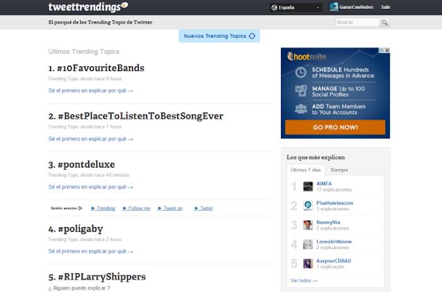 Tweettrendings (visor y buscador de trending topics del momento y el paso en Twitter)