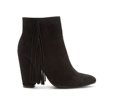Forever 21 black ankle boots with fringe