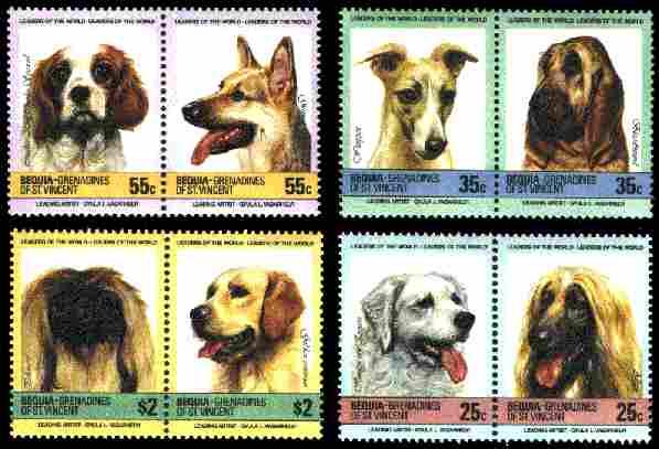 1985年セントビンセント・グレナディーン諸島 キャバリア・キング・チャールズ・スパニエル ジャーマン・シェパード ウィペット ブラッドハウンド ペキニーズ ゴールデン・レトリーバー ハンガリアン・クーバース アフガン・ハウンドの切手