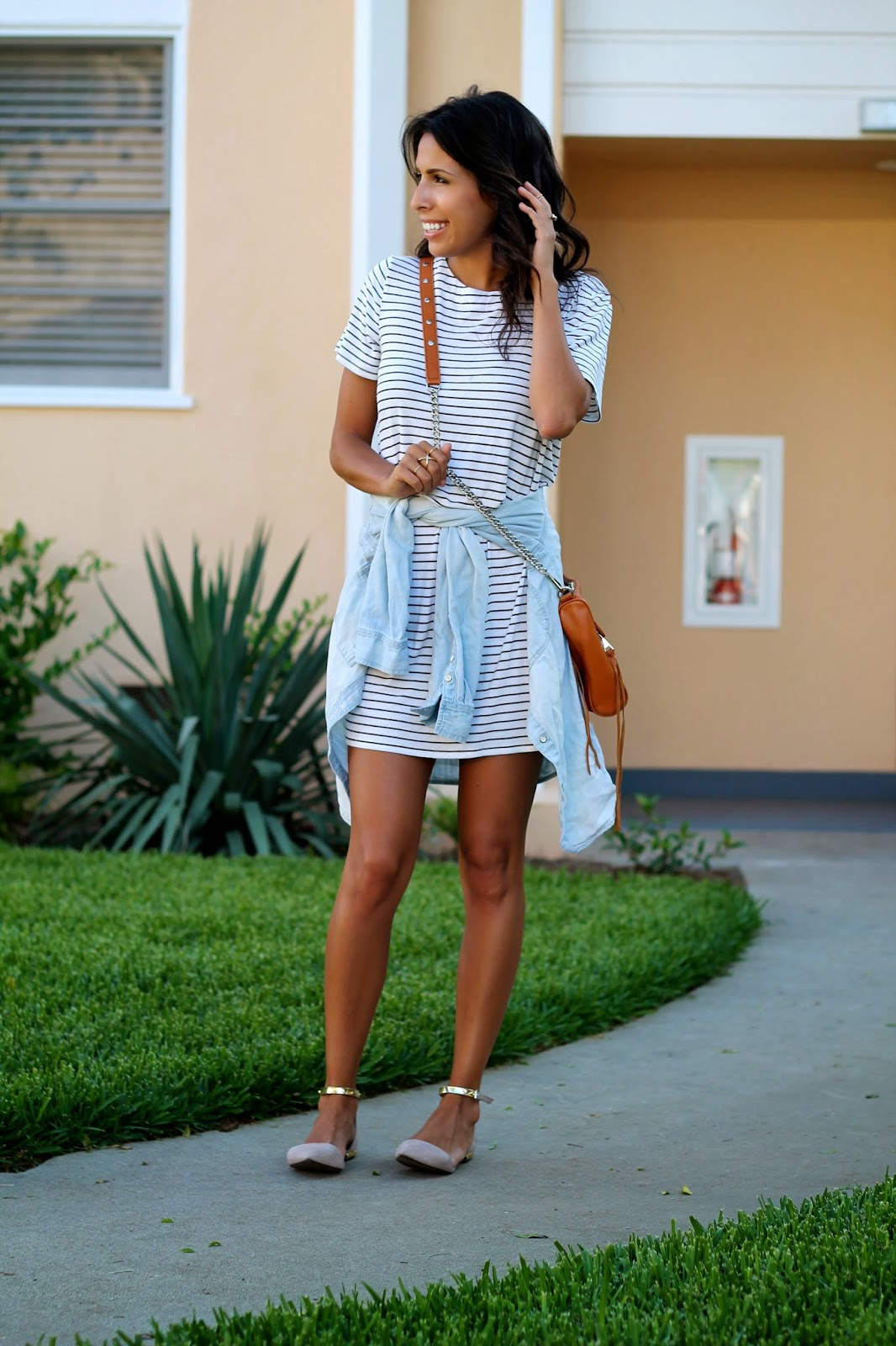 target style, striped dress, summer outfit ideas, rebecca minkoff