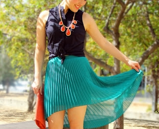 Pleated Green High-Low Skirt