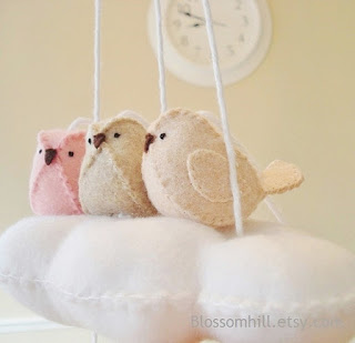 Cloud and 3 bird baby nursery mobile in blush pink, pale peach and oatmeal beige