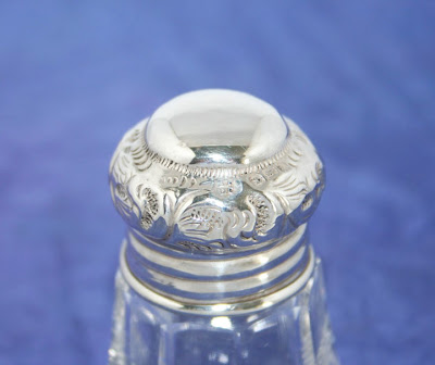 ANTIQUE GLASS SCENT BOTTLE WITH STERLING SILVER TOP by BOOTS PURE DRUG Co~1911