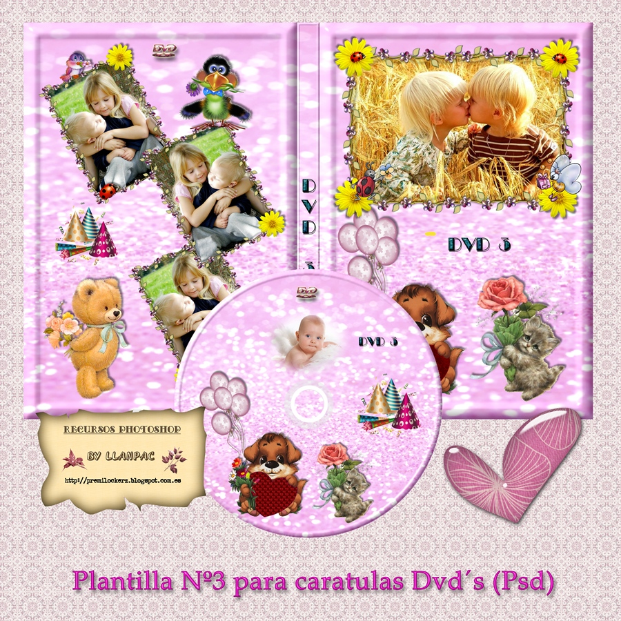 Recursos Photoshop Llanpac: Plantilla infantil para caratulas Dvd (Psd)