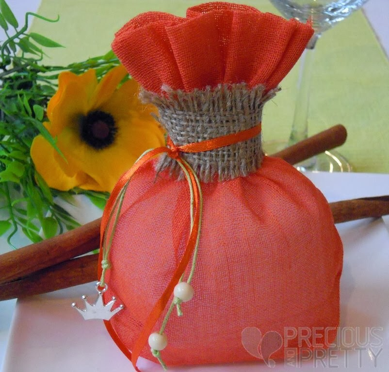 favor with burlap for baptism