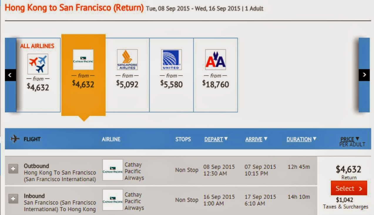 國泰航空:香港往來三藩市、芝加哥、洛杉磯 $4,632起 (連稅$5,674起)
