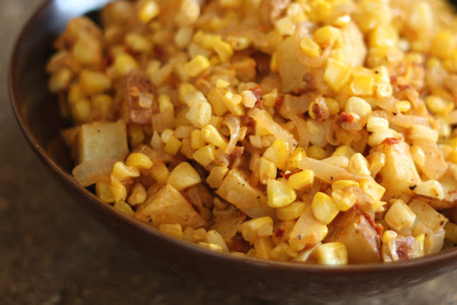Chipotle Corn and Caramelized Onion Potato Salad recipe by Barefeet In The Kitchen