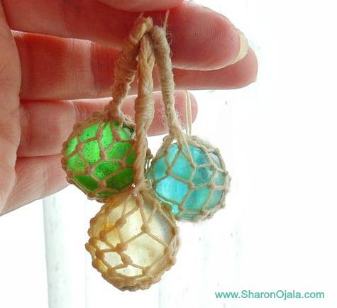 Homemade Mini Glass Float Ornaments