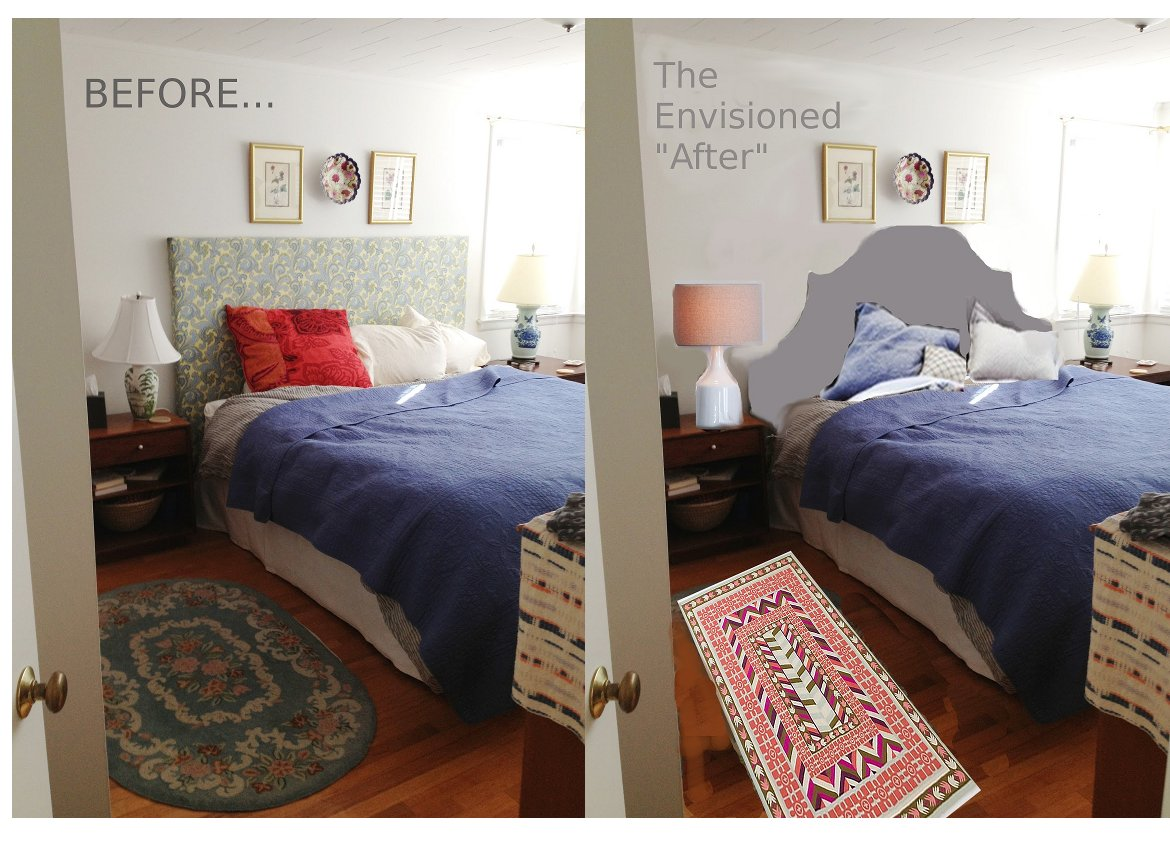 Tiptoethrough before and after diy headboard makeover for Bedroom makeover