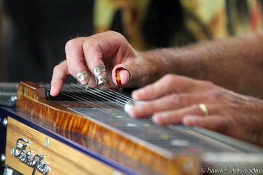 Grahame Smith, Papamoa, playing his pedal steel guitar at Napier Country and Variety Music Festival, Taradale RSA, Taradale, Napier. photograph
