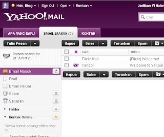 Tampilan Email Yahoo Baru