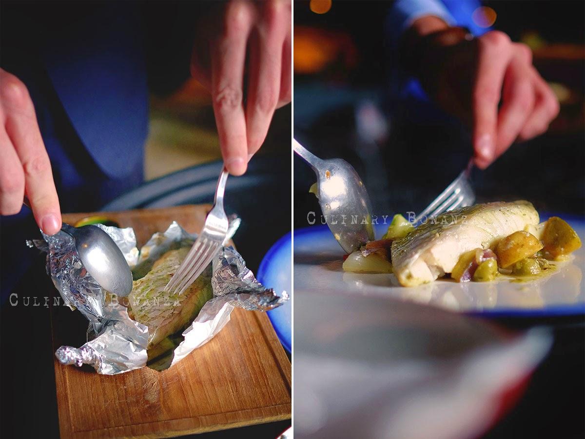sea bass 'Al Cartoccio' with potato, tomato & zucchini