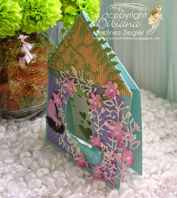 Bird tent card for mother's day side view