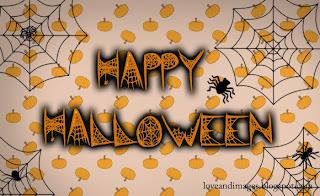 imagen para halloween con arañas y calabazas