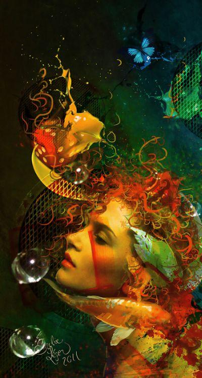 emilie leger foto manipulação digital surreal mulheres modelos sombria Harmonia