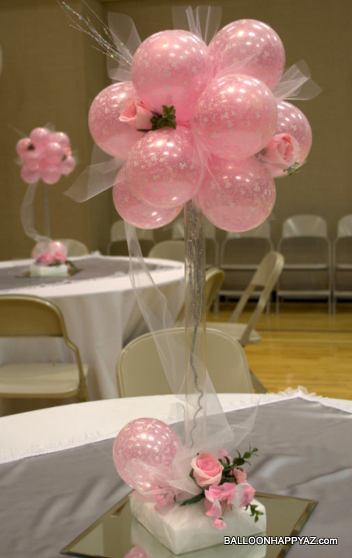 Balloon happy az wedding in pink and white